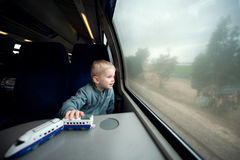 Boy in the train Stock Photo