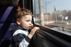 Boy in train Royalty Free Stock Image