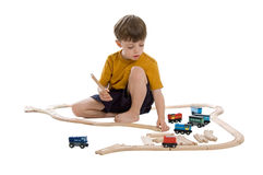 Boy with train set Stock Photo