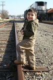 Boy on Train Track royalty free stock photos