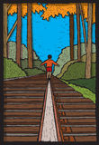 Boy on Train Tracks. Illustration of a boy walking on train tracks Royalty Free Stock Photography