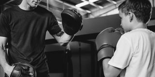 Boy Training Boxing Exercise Movement Concept Stock Photos