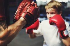Boy Training Boxing Exercise Movement Concept. Boy Training Boxing Exercise Movement Royalty Free Stock Photo