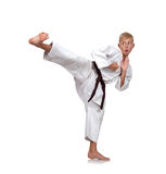 Boy  training karate Royalty Free Stock Images