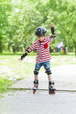 Boy trains rollerblading Stock Image