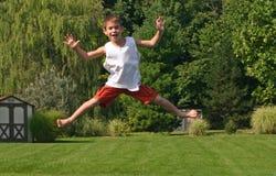 Boy on Trampoline Royalty Free Stock Photo