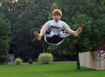 Boy on Trampoline stock photography