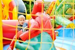Boy  on   trampoline Stock Photos