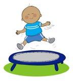 Boy on trampoline vector illustration