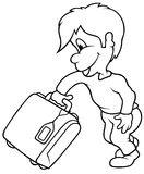 Boy and Travel Case Stock Photography