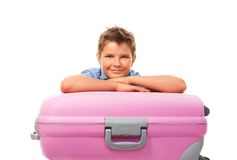 Boy and travel case Stock Images