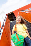 Boy traveling by airplane Royalty Free Stock Photo