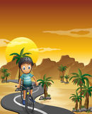 A boy travelling with his bike Royalty Free Stock Photography