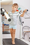 Boy on a Treadmill Royalty Free Stock Photo