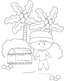 Boy with a treasure chest coloring page Stock Photos