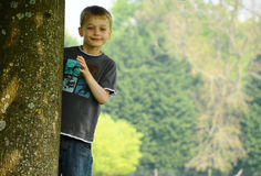 Boy by tree. A happy young boy looking out from behind a tree trunk royalty free stock image