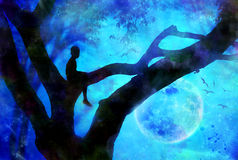 Boy in tree art. Silhouette of a little boy sitting in a tree at night with moon in background. fantasy Royalty Free Stock Photos