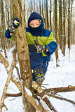 Boy in a tree. Boy climbs a tree in the winter forest Stock Images