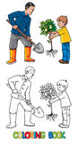 Boy with a tree and man with shovel. The Gardeners Stock Photo