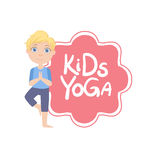 Boy In Tree Pose With Yoga Kids Logo Royalty Free Stock Photos
