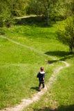 Boy on trekking path Royalty Free Stock Photo