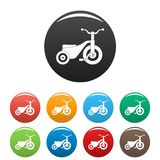 Boy tricycle icons set color royalty free illustration