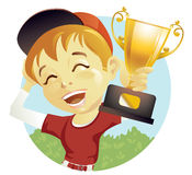 Boy with trophy Stock Photo
