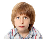 Boy troubled isolated on white Royalty Free Stock Photos