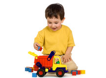 Boy, truck and blocks Royalty Free Stock Photos