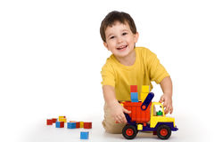 Boy, truck and blocks Stock Image