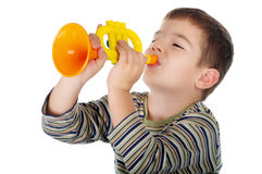 Boy with trumpet Royalty Free Stock Photos