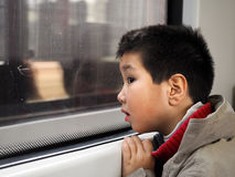 Boy at tube Stock Photo