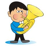 Boy and tube. Boy playing the trumpet. Humorous illustration Stock Photography