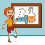 Boy with tube test education icons Royalty Free Stock Images