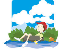 Boy tubing. Vector illustration of a boy floating down a river on an innertube Royalty Free Stock Images