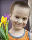 Boy and Tulips. Close up of a little boy with purple and yellow tulips Stock Photos
