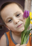 Boy and Tulips. Close up of a little boy with purple and yellow tulips Royalty Free Stock Photos