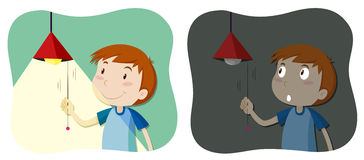 Boy tuning the light on and off. Illustration Stock Images