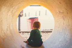 Boy in the Tunnel during Daytime Stock Photos