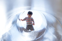Boy in Tunnel Royalty Free Stock Photo