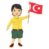 Boy with Turkish Flag Vector Illustration. 