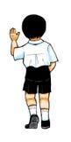Boy turning back. School boy clipart illustration - boy turning back, walking and waving goodbye isolated on white background Stock Image
