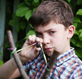 Boy with   turnpike aiming to the target Stock Images