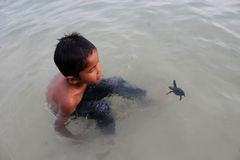 Boy and  Turtle Stock Photography