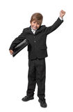 Boy in a tuxedo with a folder in hands. Stock Image