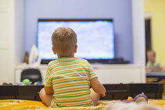 Boy and TV Royalty Free Stock Photos