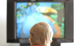 Boy and tv stock video footage