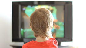 Boy and tv stock video
