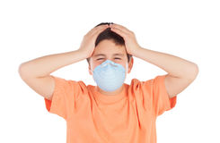 Boy of about twelve with allergy mask Royalty Free Stock Images