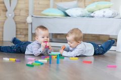 Boy twins playing Royalty Free Stock Photos